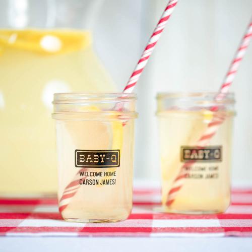 Personalized Baby Shower Printed Glass Mason Jar